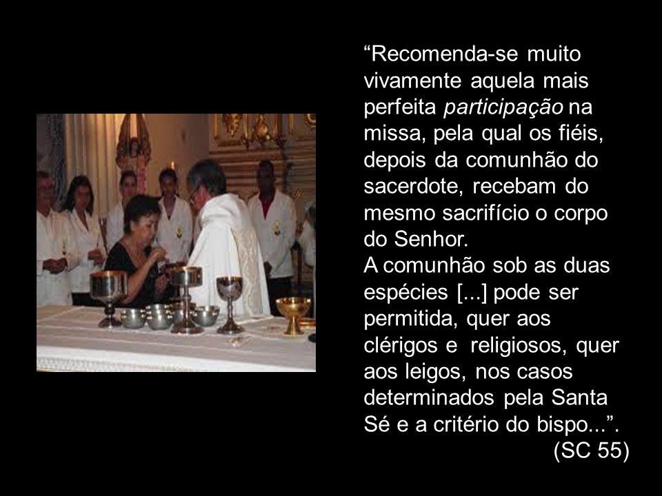 Recomenda-se muito vivamente aquela mais perfeita participação na missa, pela qual os fiéis, depois da comunhão do sacerdote, recebam do mesmo sacrifício o corpo do Senhor.