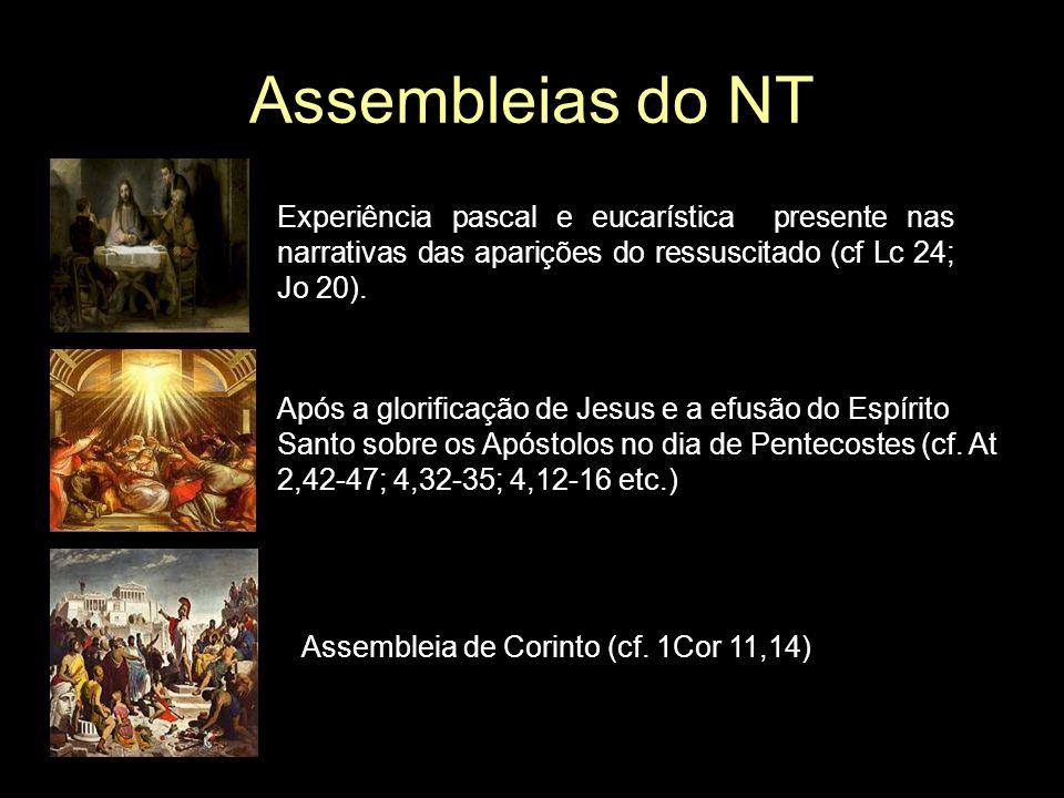 Assembleias do NT Experiência pascal e eucarística presente nas narrativas das aparições do ressuscitado (cf Lc 24; Jo 20).