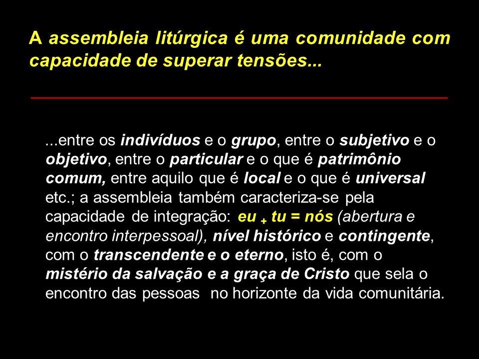 A assembleia litúrgica é uma comunidade com capacidade de superar tensões...