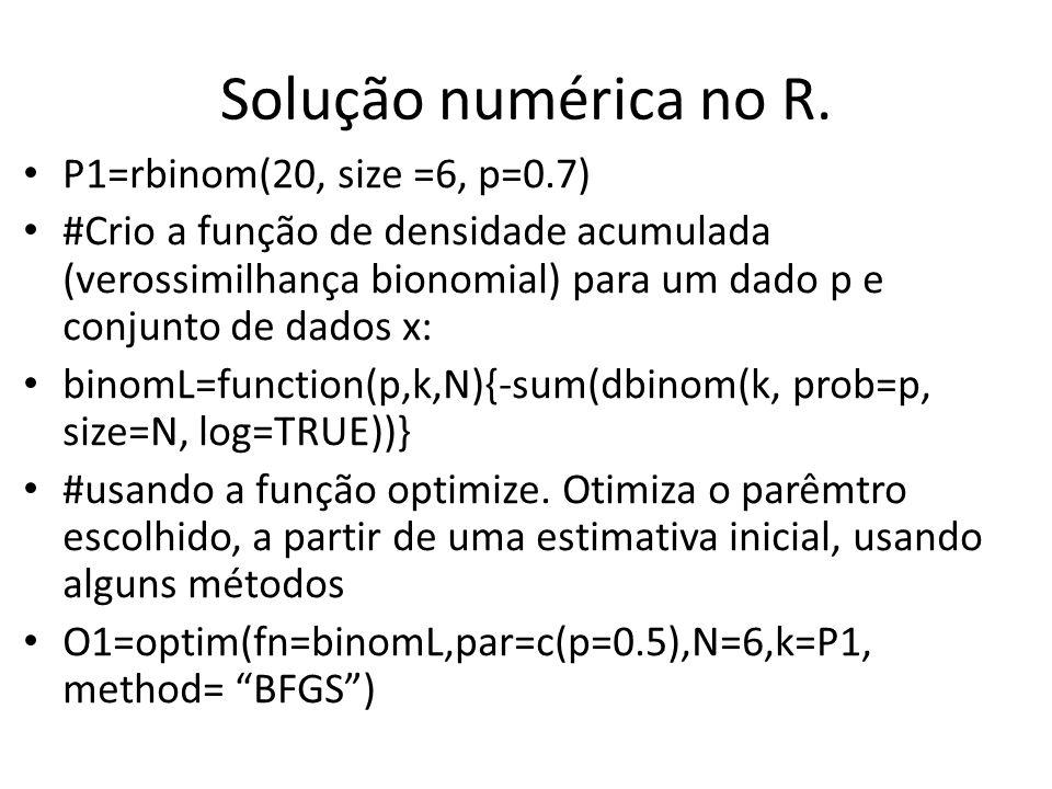 Solução numérica no R. P1=rbinom(20, size =6, p=0.7)