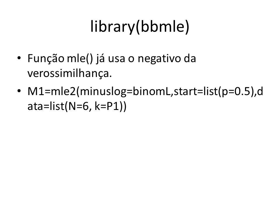 library(bbmle) Função mle() já usa o negativo da verossimilhança.