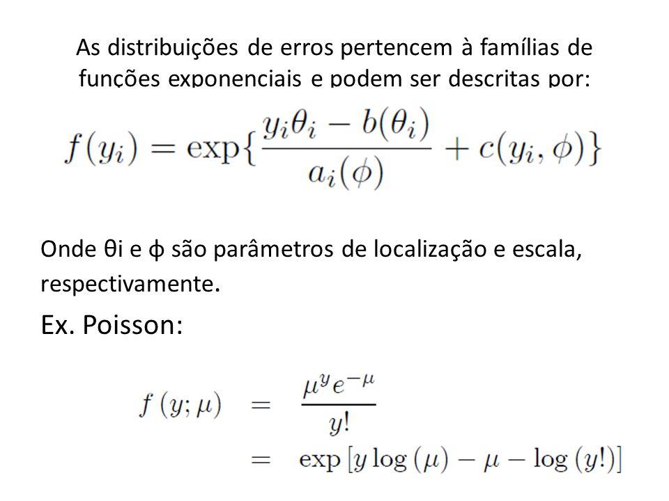 As distribuições de erros pertencem à famílias de funções exponenciais e podem ser descritas por: