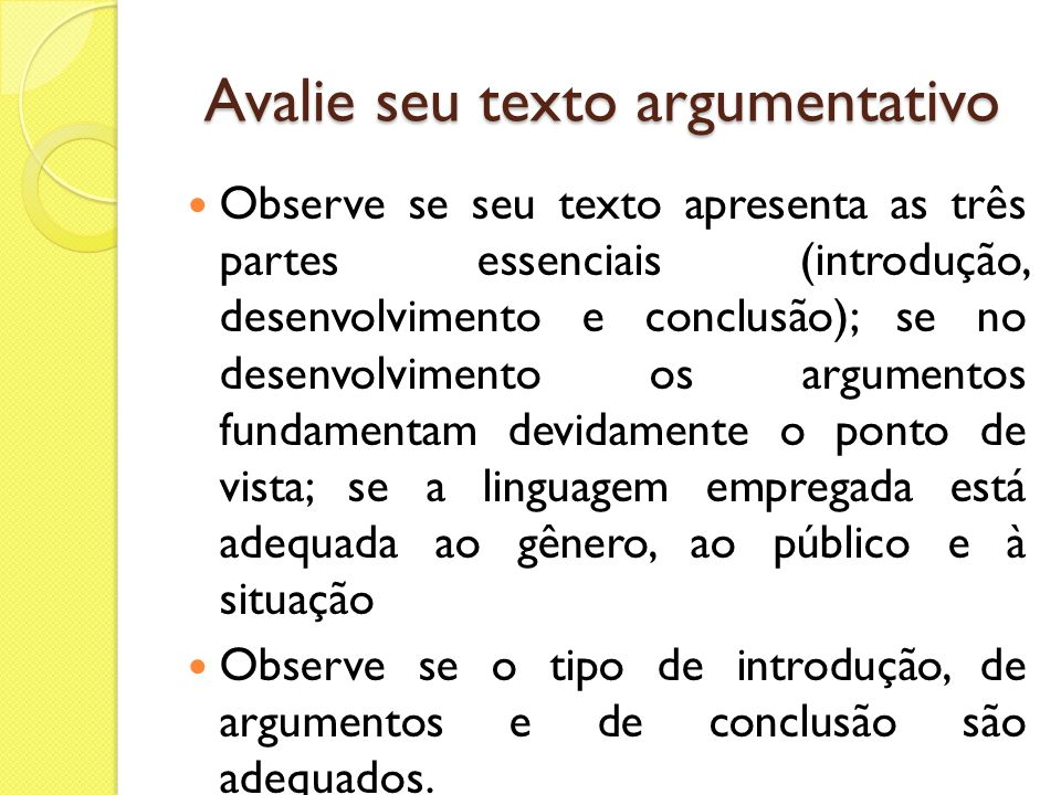 Avalie seu texto argumentativo
