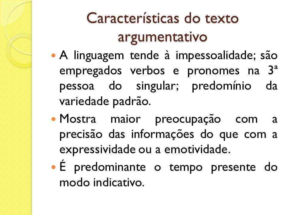 Características do texto argumentativo