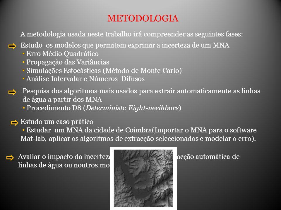 METODOLOGIA A metodologia usada neste trabalho irá compreender as seguintes fases: Estudo os modelos que permitem exprimir a incerteza de um MNA.