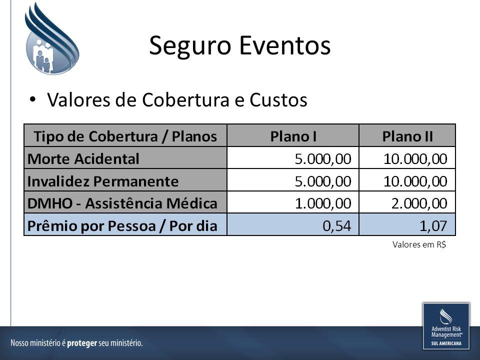 Seguro Eventos Valores de Cobertura e Custos Valores em R$