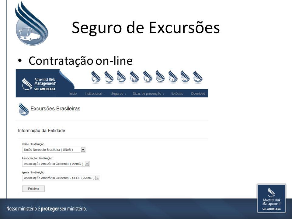 Seguro de Excursões Contratação on-line