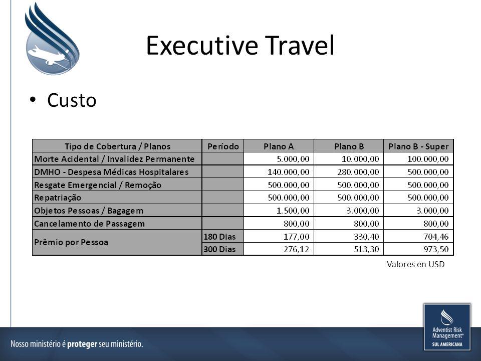 Executive Travel Custo Valores en USD