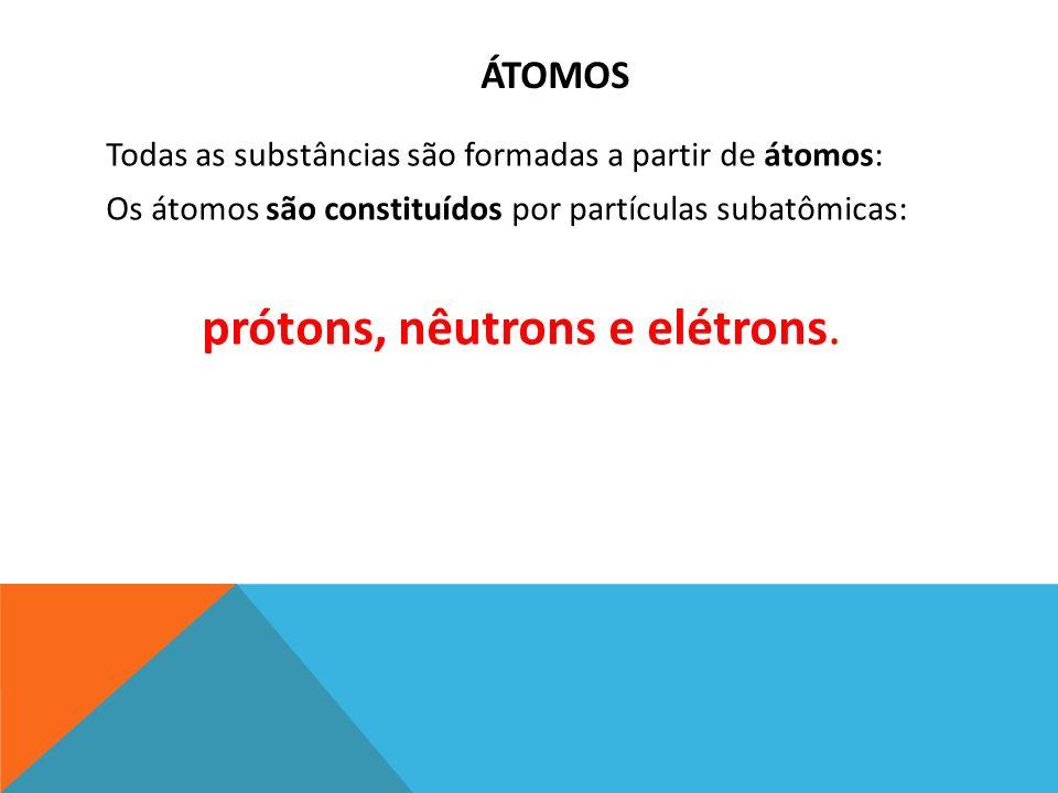prótons, nêutrons e elétrons.