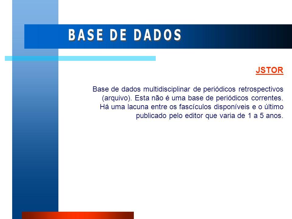 BASE DE DADOS JSTOR.