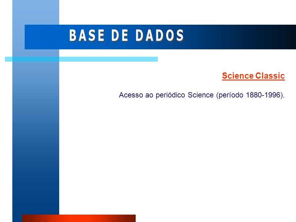 BASE DE DADOS Science Classic