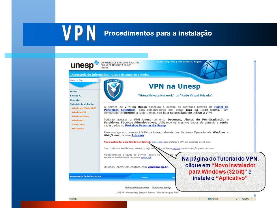 VPN Procedimentos para a instalação