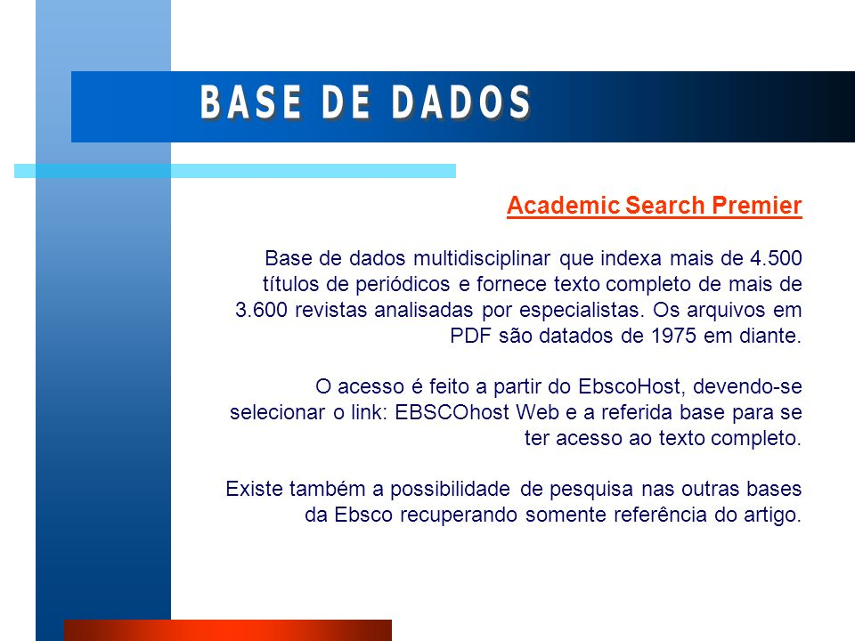 BASE DE DADOS Academic Search Premier