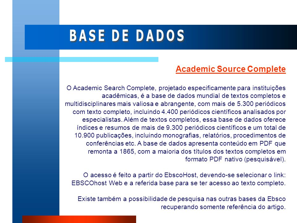 BASE DE DADOS Academic Source Complete