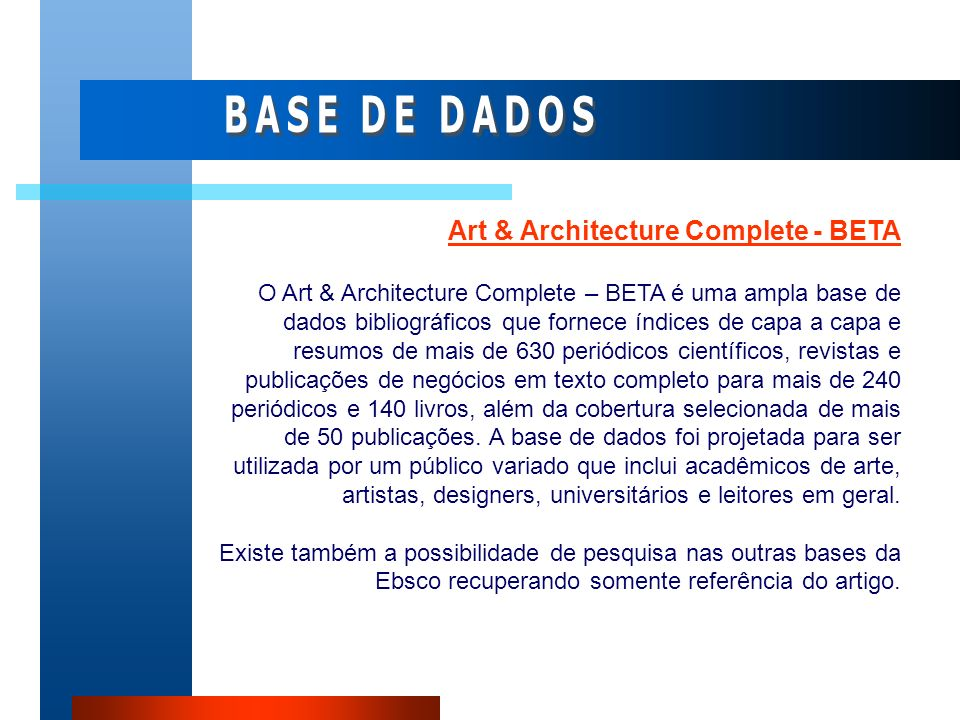 BASE DE DADOS Art & Architecture Complete - BETA