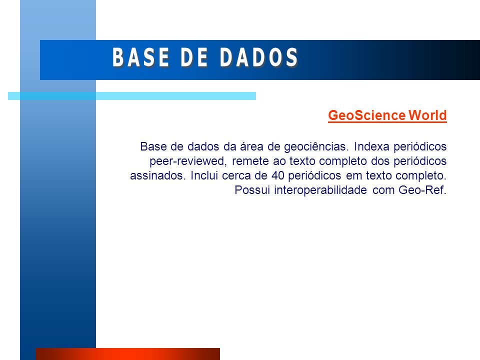BASE DE DADOS GeoScience World
