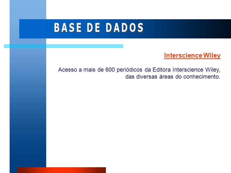 BASE DE DADOS Interscience Wiley