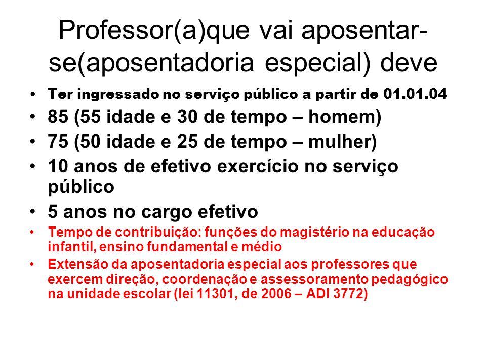 Professor(a)que vai aposentar-se(aposentadoria especial) deve