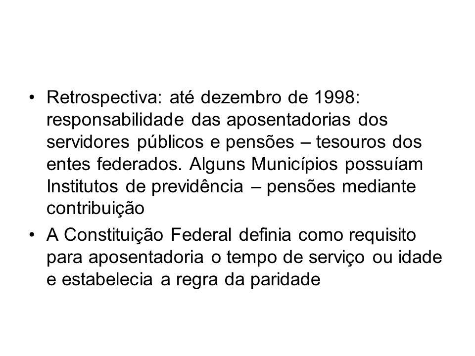 Retrospectiva: até dezembro de 1998: responsabilidade das aposentadorias dos servidores públicos e pensões – tesouros dos entes federados. Alguns Municípios possuíam Institutos de previdência – pensões mediante contribuição