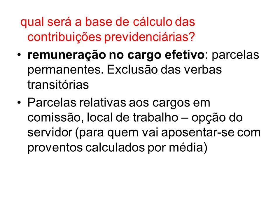 qual será a base de cálculo das contribuições previdenciárias