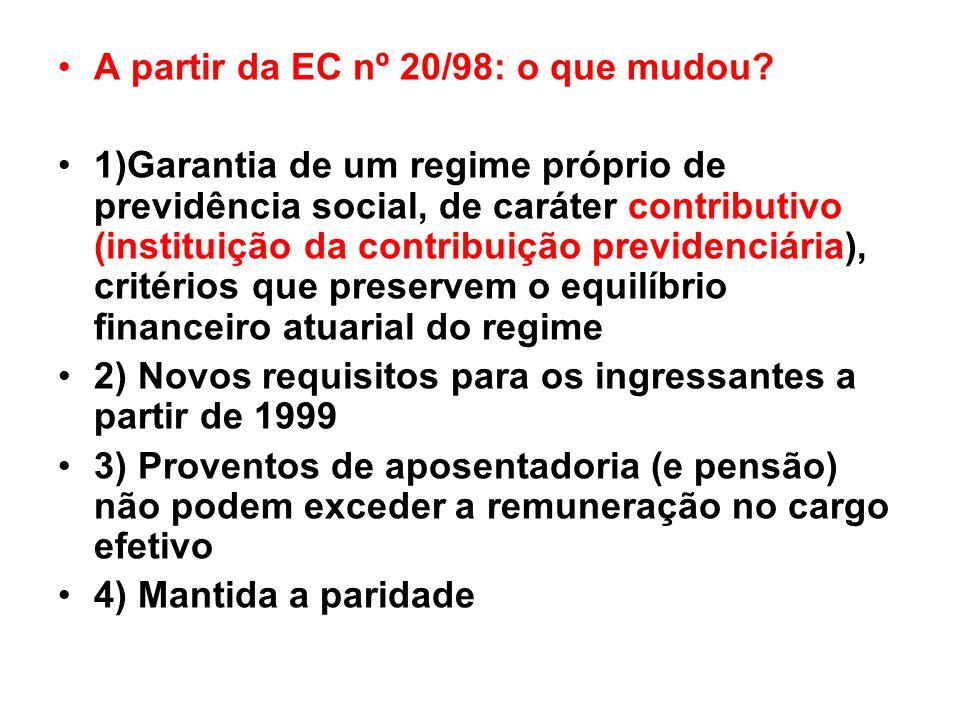 A partir da EC nº 20/98: o que mudou