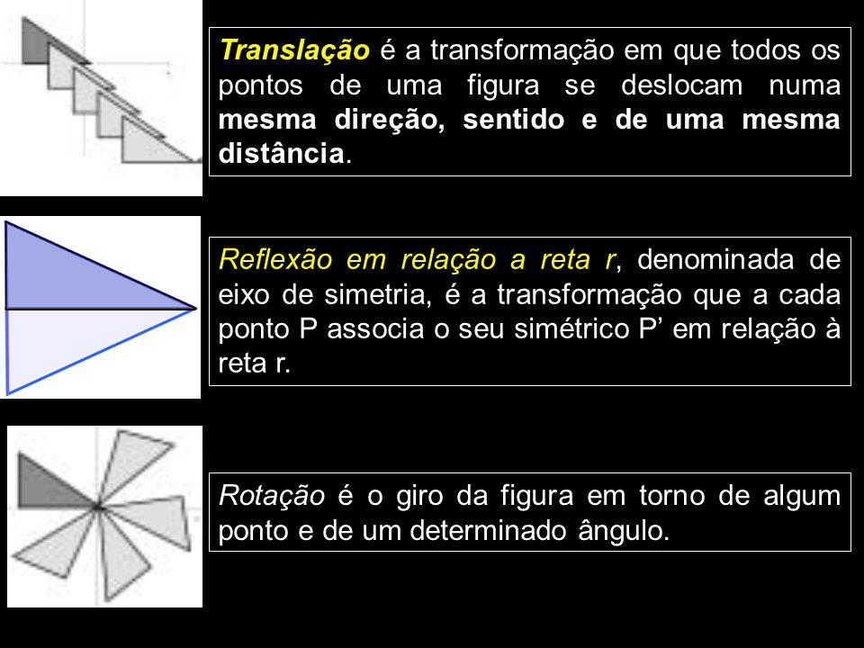 Translação é a transformação em que todos os pontos de uma figura se deslocam numa mesma direção, sentido e de uma mesma distância.