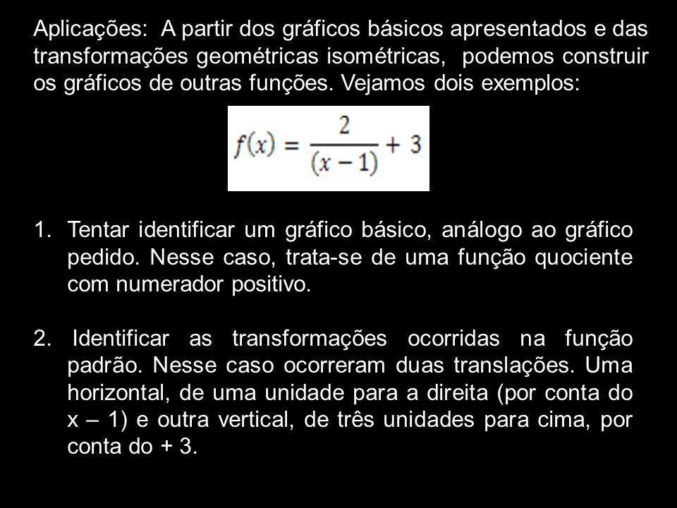 Aplicações: A partir dos gráficos básicos apresentados e das transformações geométricas isométricas, podemos construir os gráficos de outras funções. Vejamos dois exemplos: