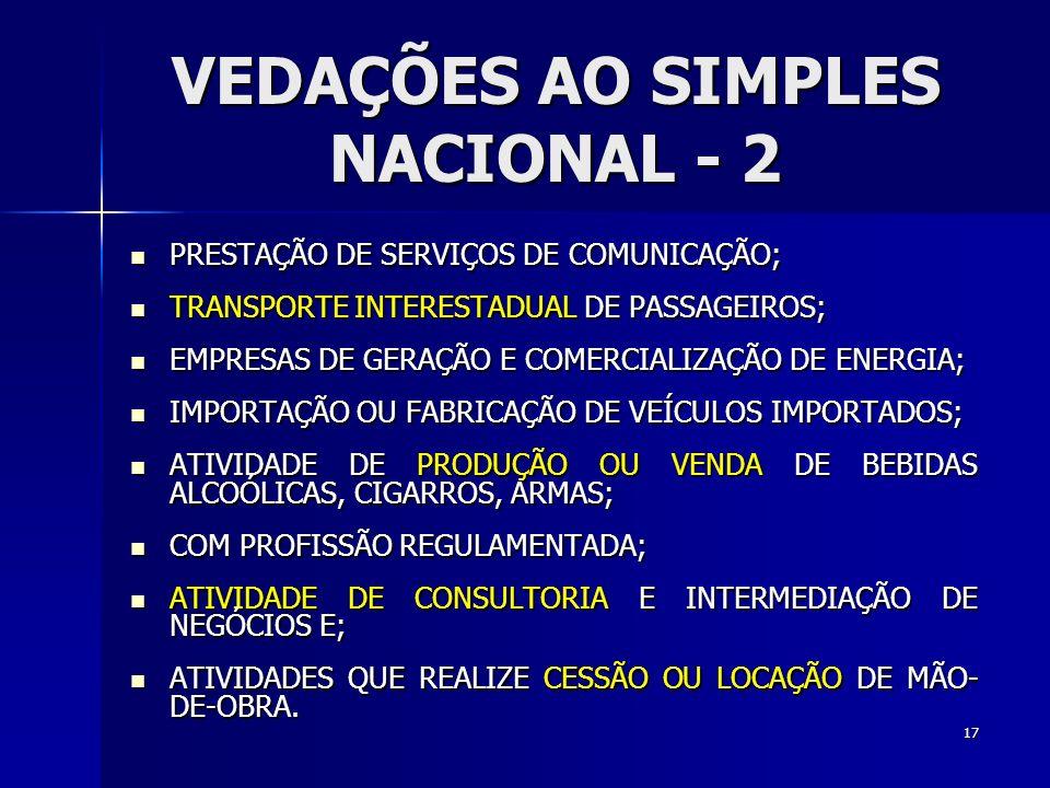 VEDAÇÕES AO SIMPLES NACIONAL - 2