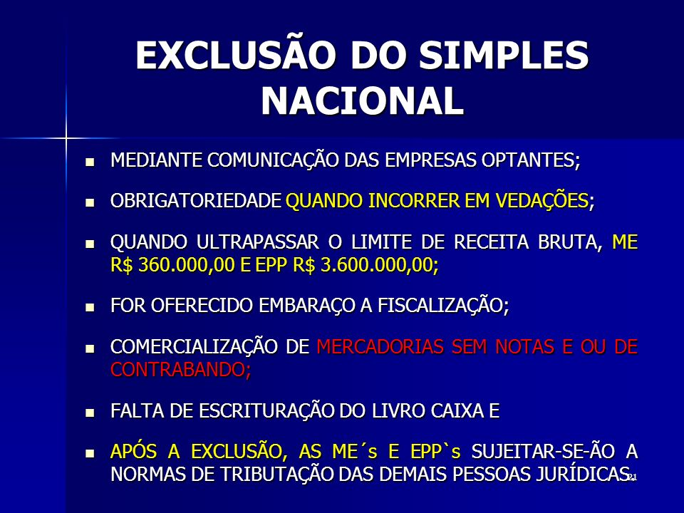 EXCLUSÃO DO SIMPLES NACIONAL