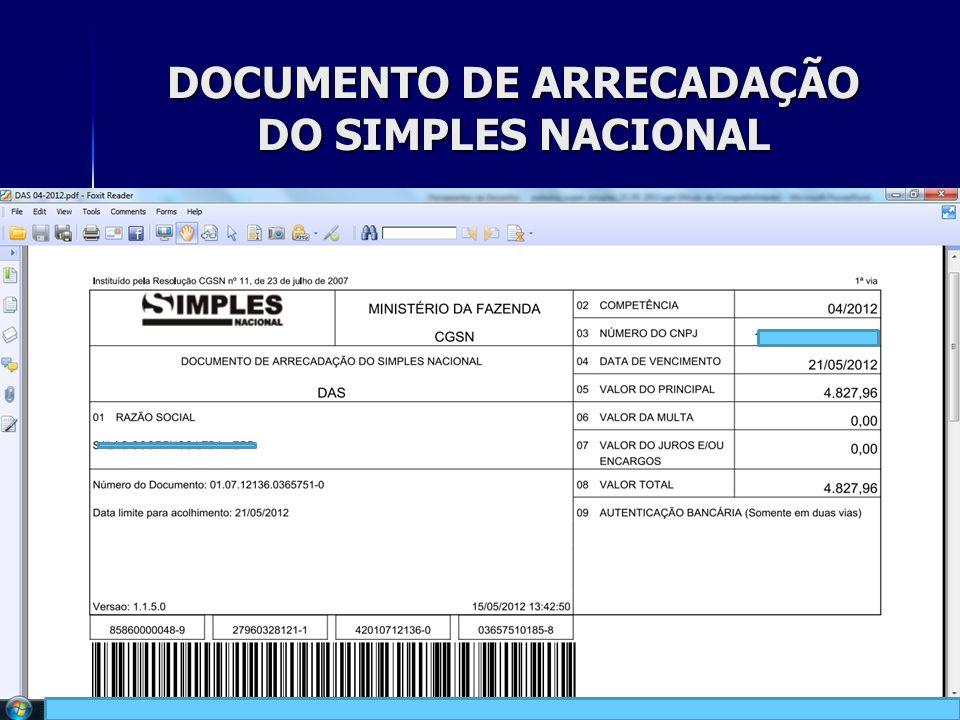 DOCUMENTO DE ARRECADAÇÃO DO SIMPLES NACIONAL