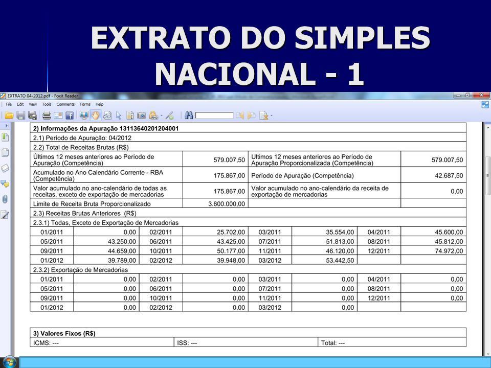 EXTRATO DO SIMPLES NACIONAL - 1