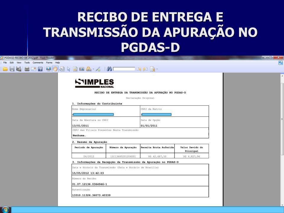 RECIBO DE ENTREGA E TRANSMISSÃO DA APURAÇÃO NO PGDAS-D