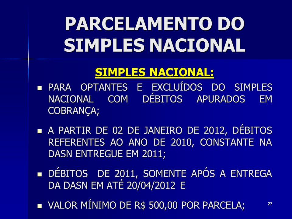 PARCELAMENTO DO SIMPLES NACIONAL