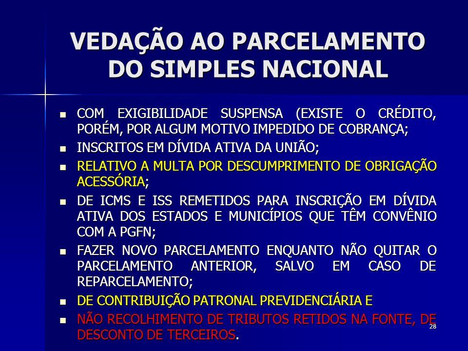 VEDAÇÃO AO PARCELAMENTO DO SIMPLES NACIONAL