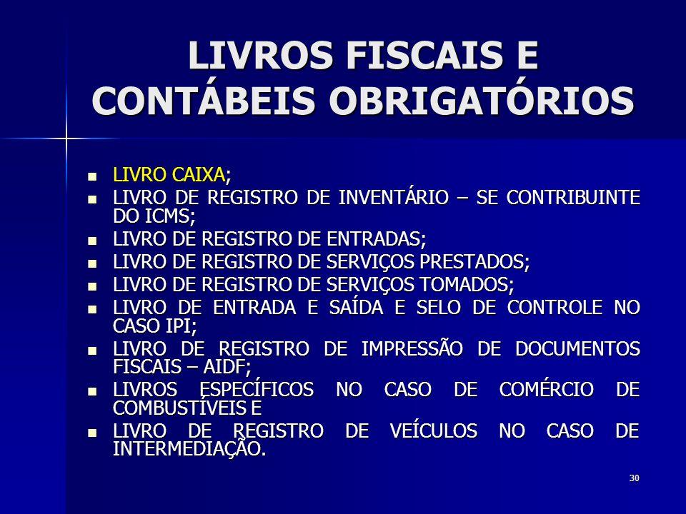 LIVROS FISCAIS E CONTÁBEIS OBRIGATÓRIOS