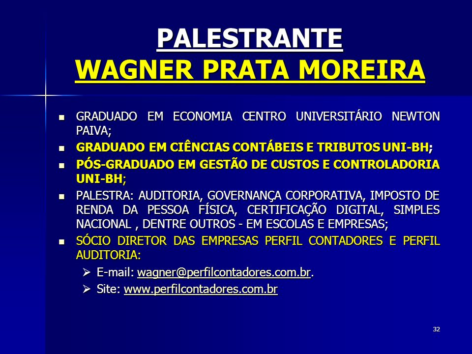 PALESTRANTE WAGNER PRATA MOREIRA