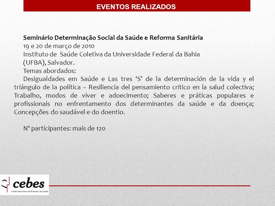 EVENTOS REALIZADOS Seminário Determinação Social da Saúde e Reforma Sanitária. 19 e 20 de março de 2010.