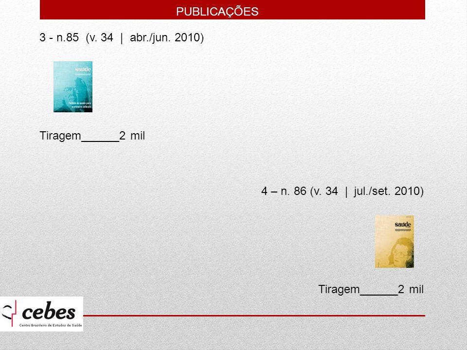 PUBLICAÇÕES 3 - n.85 (v. 34 | abr./jun. 2010) Tiragem______2 mil. 4 – n. 86 (v. 34 | jul./set. 2010)