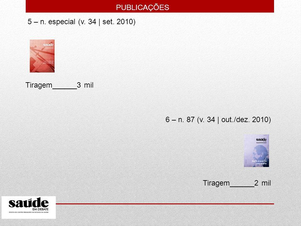 PUBLICAÇÕES 5 – n. especial (v. 34 | set. 2010) Tiragem______3 mil