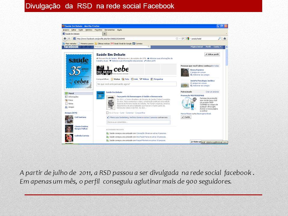 Divulgação da RSD na rede social Facebook