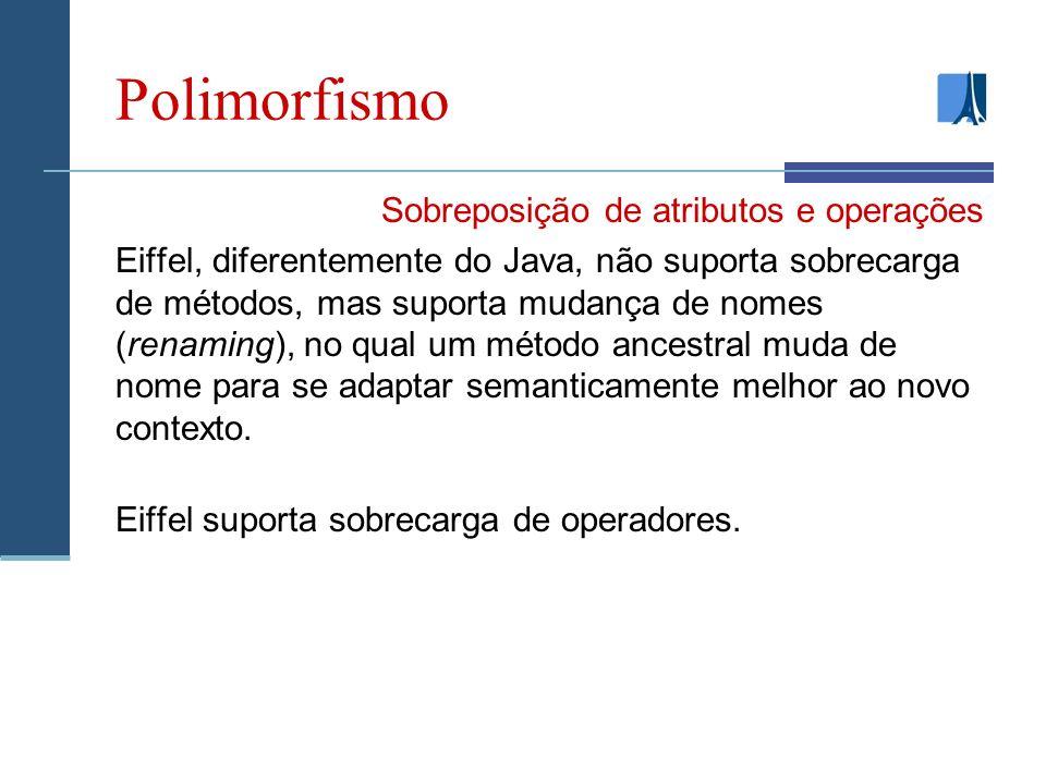 Polimorfismo Sobreposição de atributos e operações