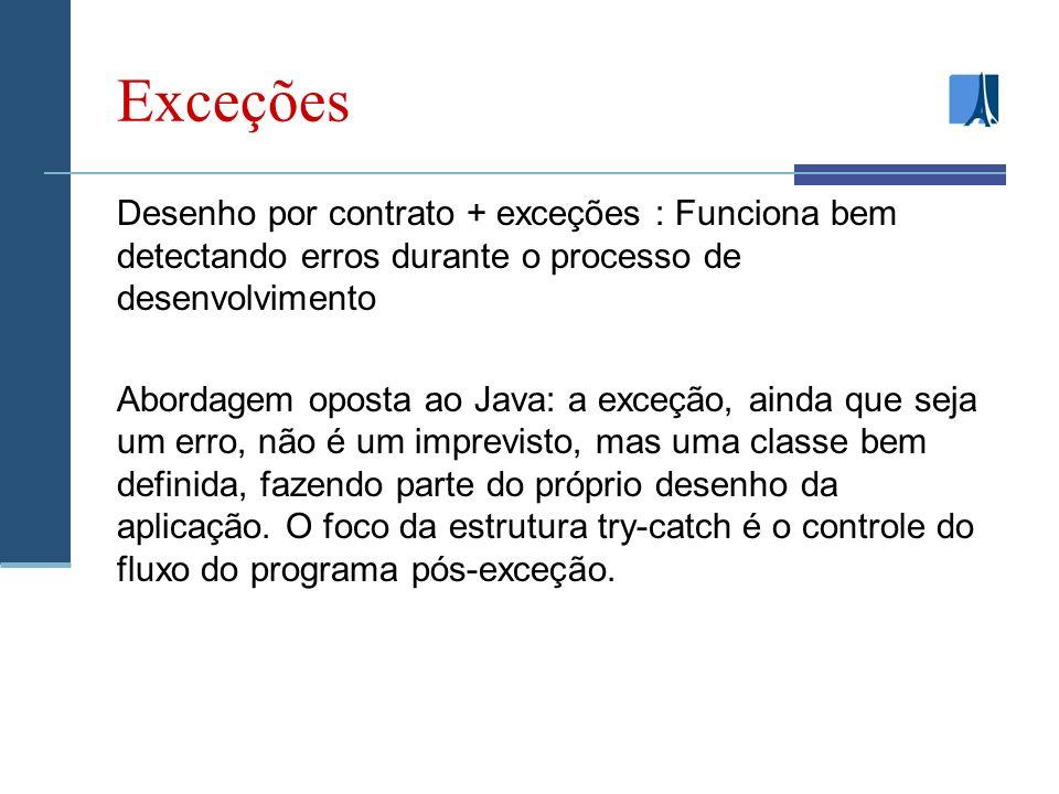 Exceções Desenho por contrato + exceções : Funciona bem detectando erros durante o processo de desenvolvimento.