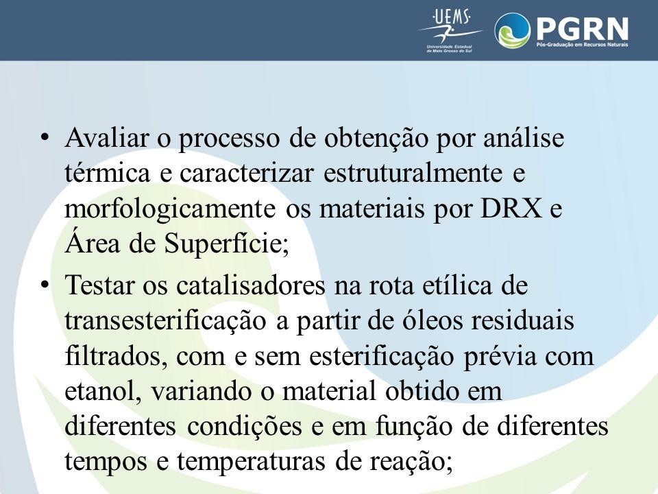 Avaliar o processo de obtenção por análise térmica e caracterizar estruturalmente e morfologicamente os materiais por DRX e Área de Superfície;