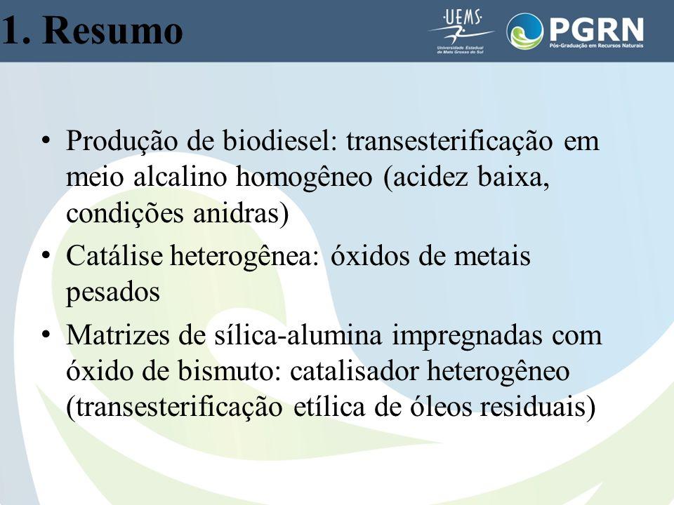 1. Resumo Produção de biodiesel: transesterificação em meio alcalino homogêneo (acidez baixa, condições anidras)