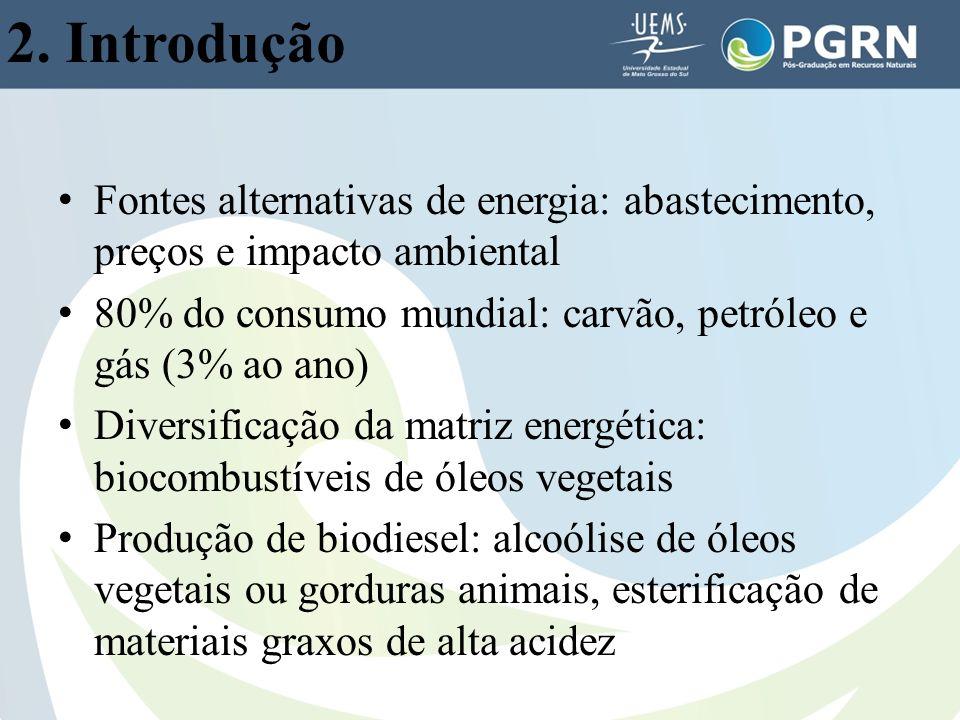 2. Introdução Fontes alternativas de energia: abastecimento, preços e impacto ambiental. 80% do consumo mundial: carvão, petróleo e gás (3% ao ano)