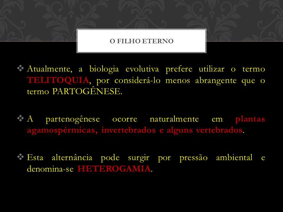 O filho eterno Atualmente, a biologia evolutiva prefere utilizar o termo TELITOQUIA, por considerá-lo menos abrangente que o termo PARTOGÊNESE.