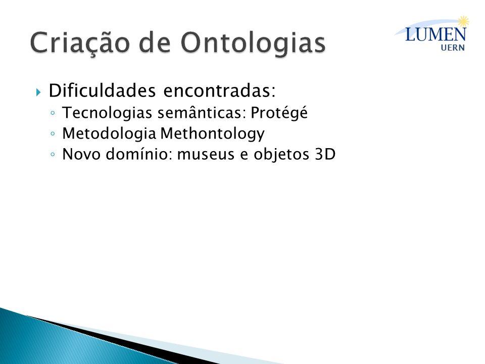 Criação de Ontologias Dificuldades encontradas: