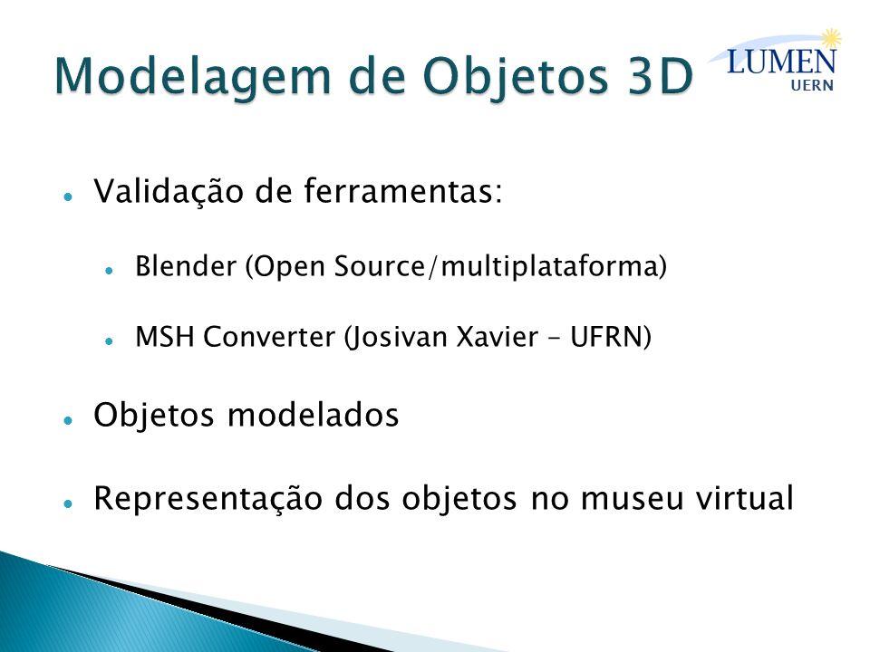 Modelagem de Objetos 3D Validação de ferramentas: Objetos modelados