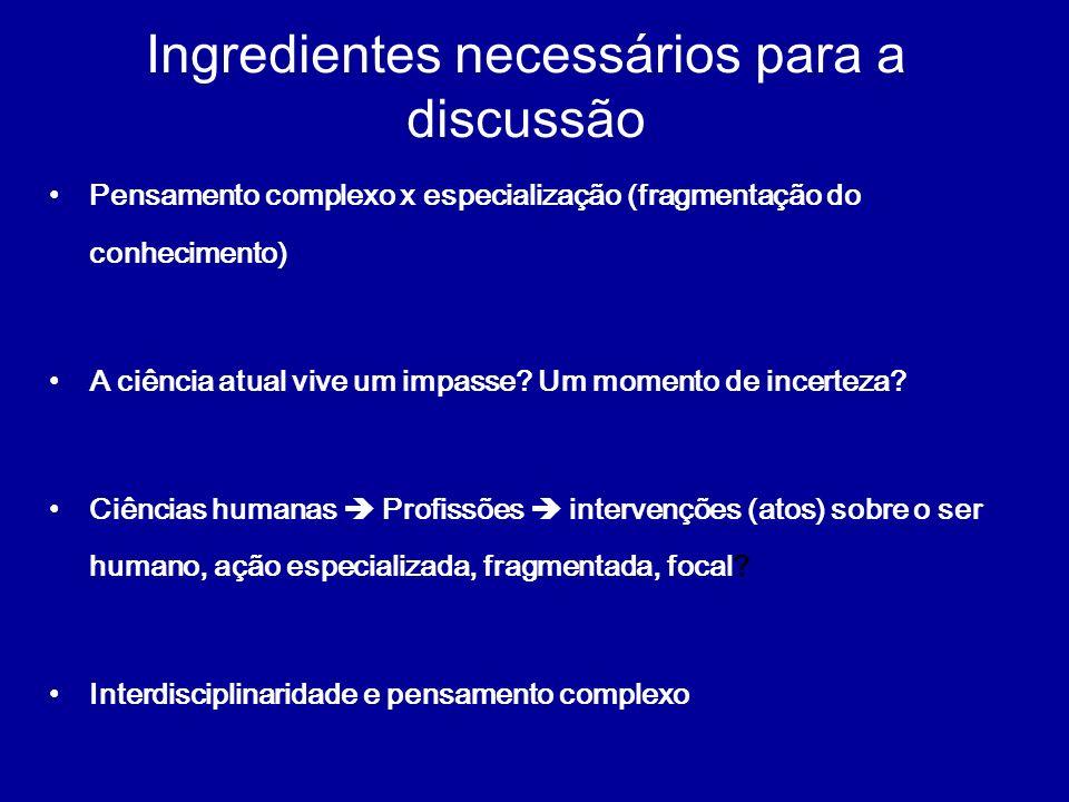 Ingredientes necessários para a discussão
