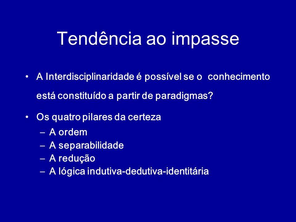 Tendência ao impasse A Interdisciplinaridade é possível se o conhecimento está constituído a partir de paradigmas